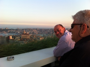 Phil & John on the roof terrace at Mikla