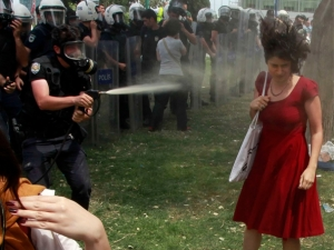 'Woman in red' pepper sprayed by police becomes symbol of Istanbul's Occupy Gezi unrest against Prime Minister Erdogan